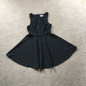 Elle Black Dot Fit & Flare Dress - Black - 10